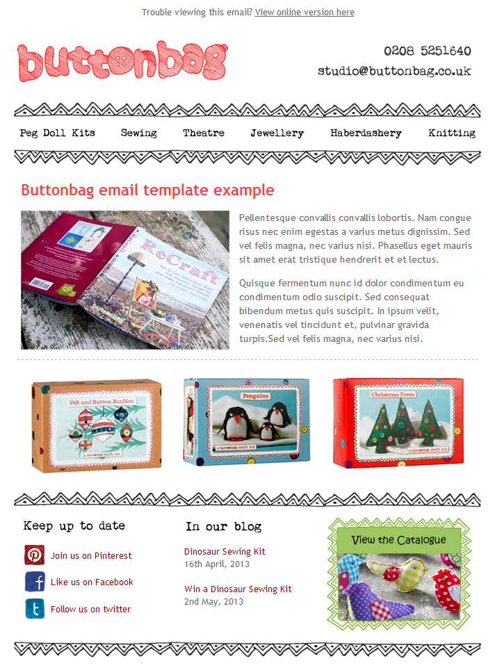 Buttonbags email newslette