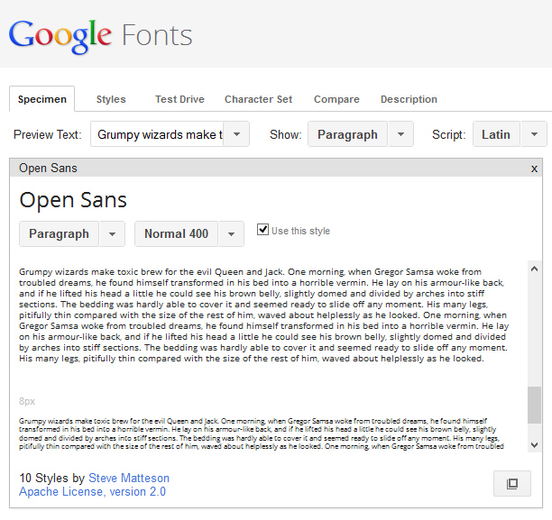 Previewing a font at small sizes