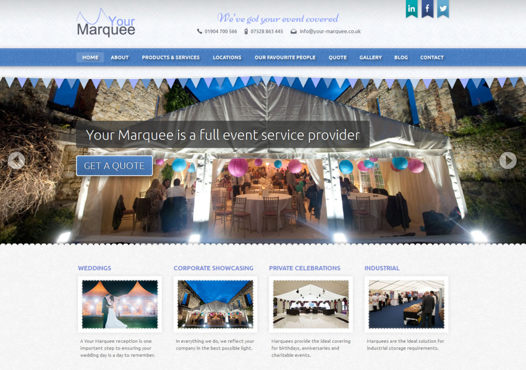 Your Marquee uses a large banner image to give the impression of a wider site