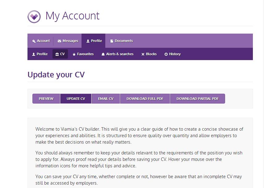 Viamia's CV builder application