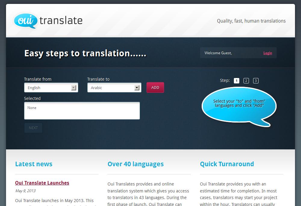 Translation request app for Oui Translate