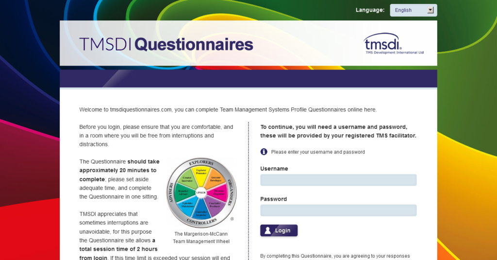 Questionnaire application for TMSDI
