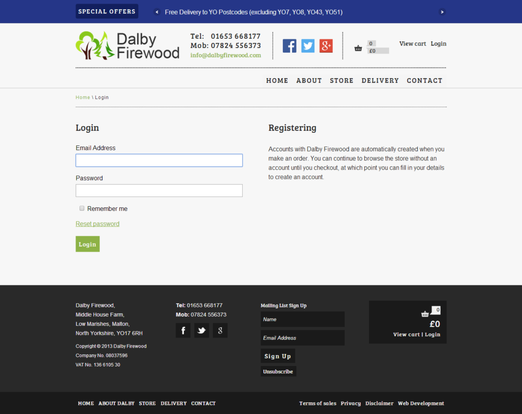 User log-in page on dalbyfirewood.com
