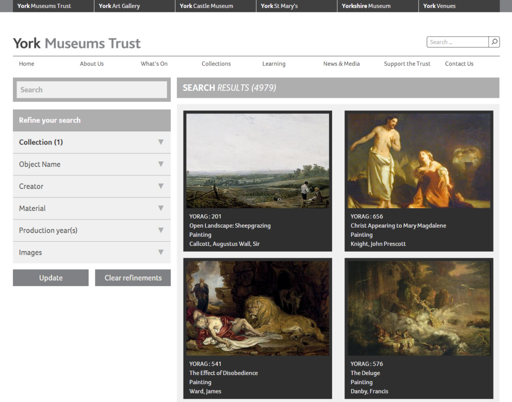 Searching the York Museums Trust collection