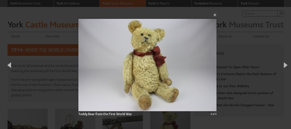An adorable example of content added to the York Castle Museum site via bespoke CMS