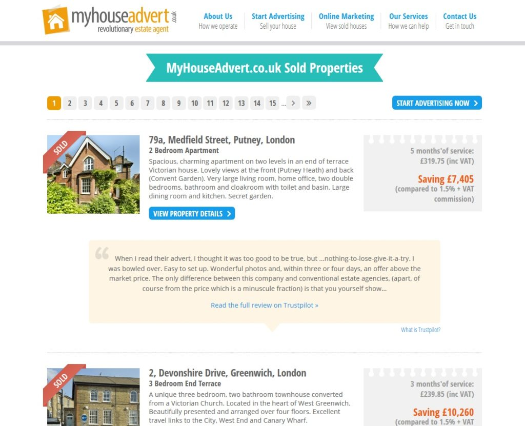 Telling it like it is: MyHouseAdvert lists hundreds of successful sales, with glowing reviews and figures showing how clients saved by not going to a conventional estate agent