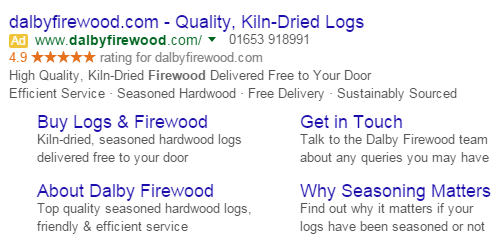 An example of a Google AdWords advert for Dalby Firewood.