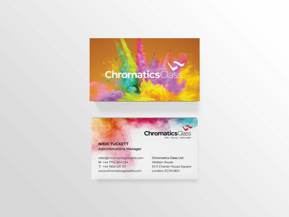 Chromatics Glass business card visual