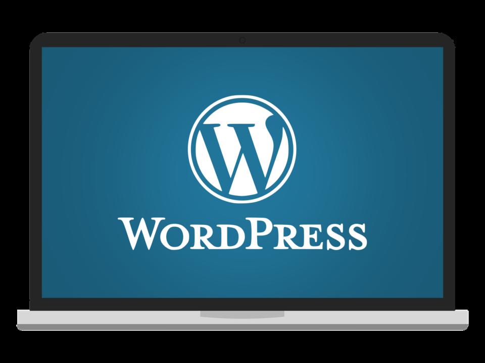 wordpress logo on screen