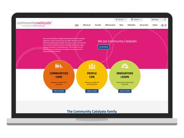 An example of a website for a not-for-profit organisation visualised on a laptop device