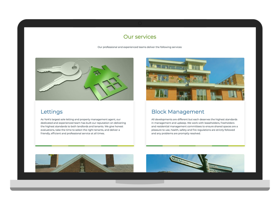 An example of a property website visualised on a laptop