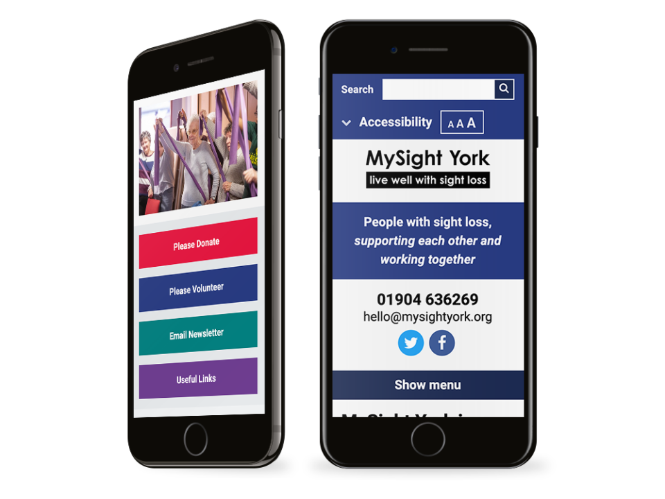 An example of a charity website on visualised on a mobile