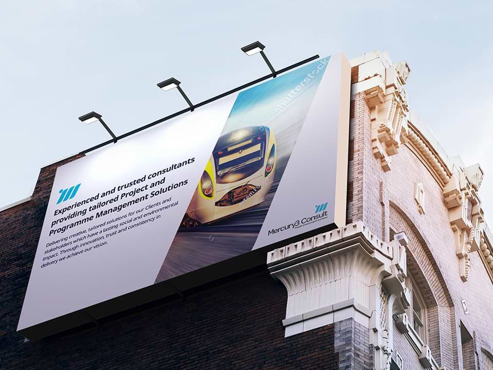 An example of high end print design visualised on a billboard