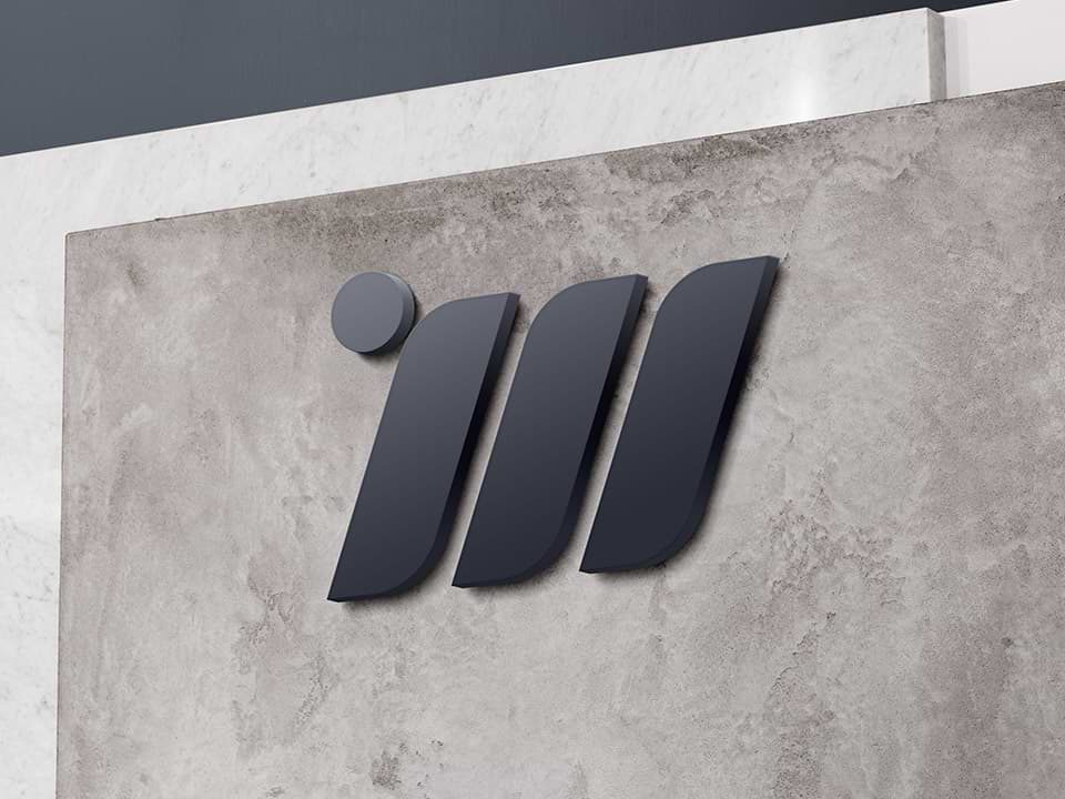 An example of high end logo design visualised on a wall
