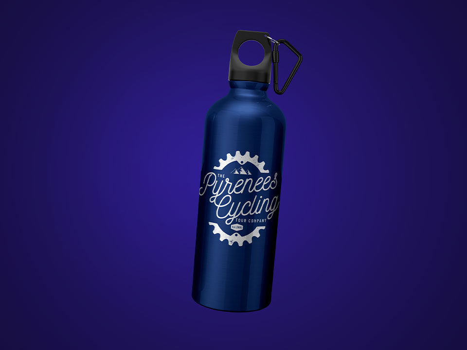 An example of high end logo design visualised on a water bottle