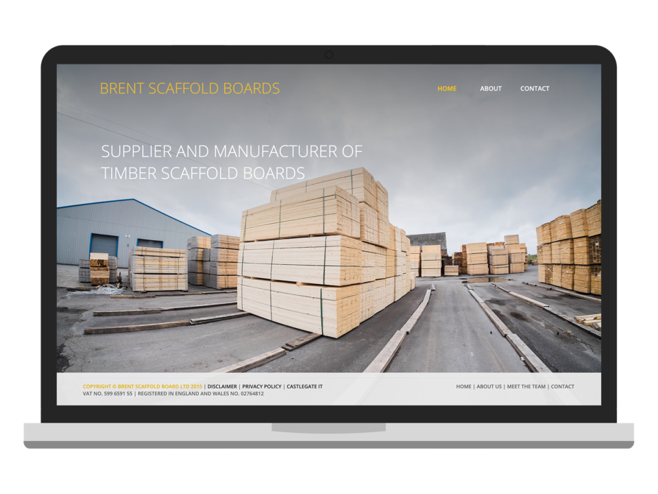 Brent Scaffolding Boards visualised on a laptop