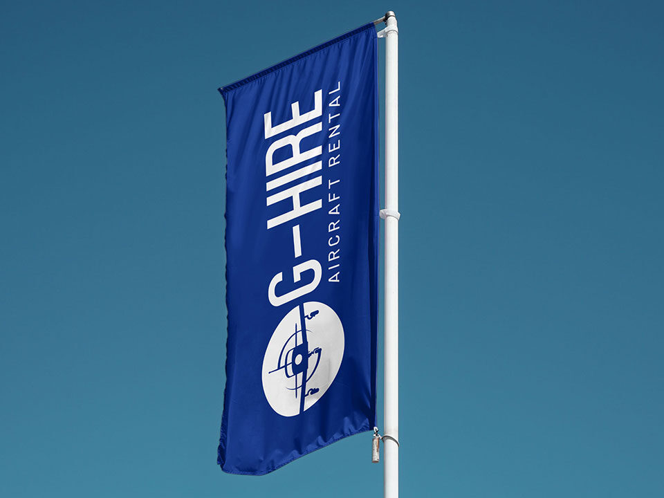An example of high end logo design visualised on a flag