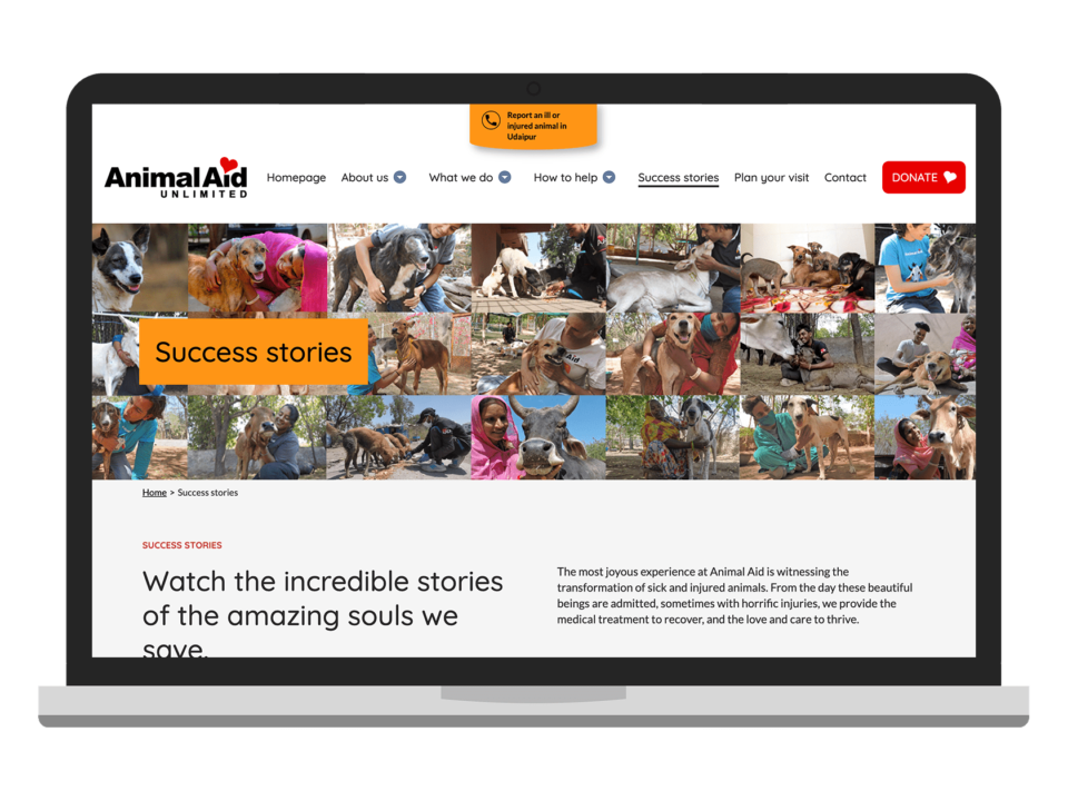 AAU a high quality charity website visualised on a laptop