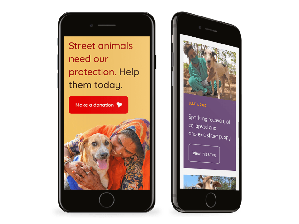 AAU a high quality charity website visualised on a mobile