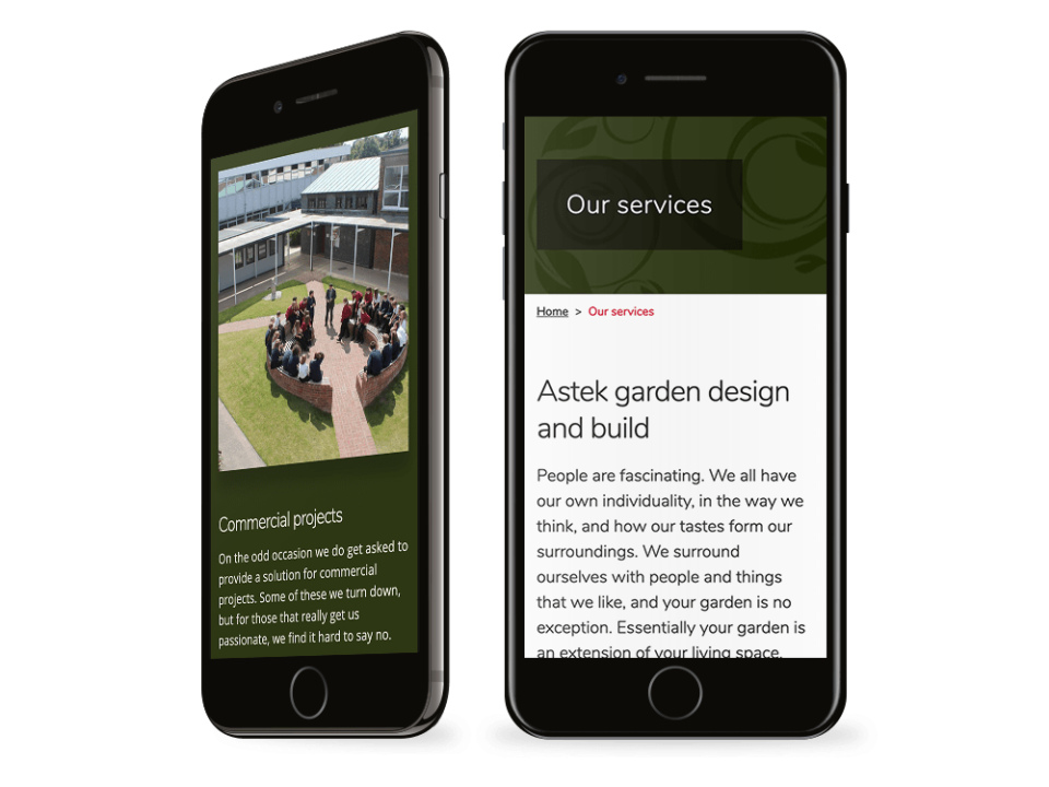 An example of high-end website design visualised on a mobile