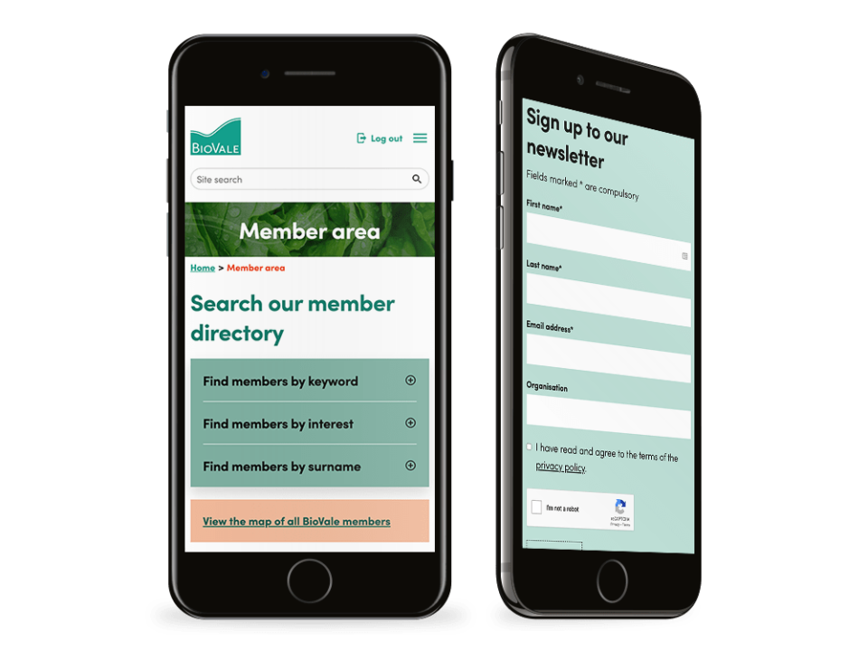 An example of high-end website design with a membership system visualised on a mobile device