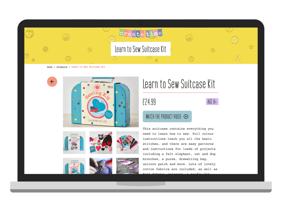 An example of a high-end woo commerce shop website visualised on a desktop device
