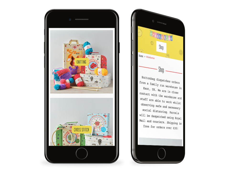 An example of a high-end woo commerce shop website visualised on a mobile device