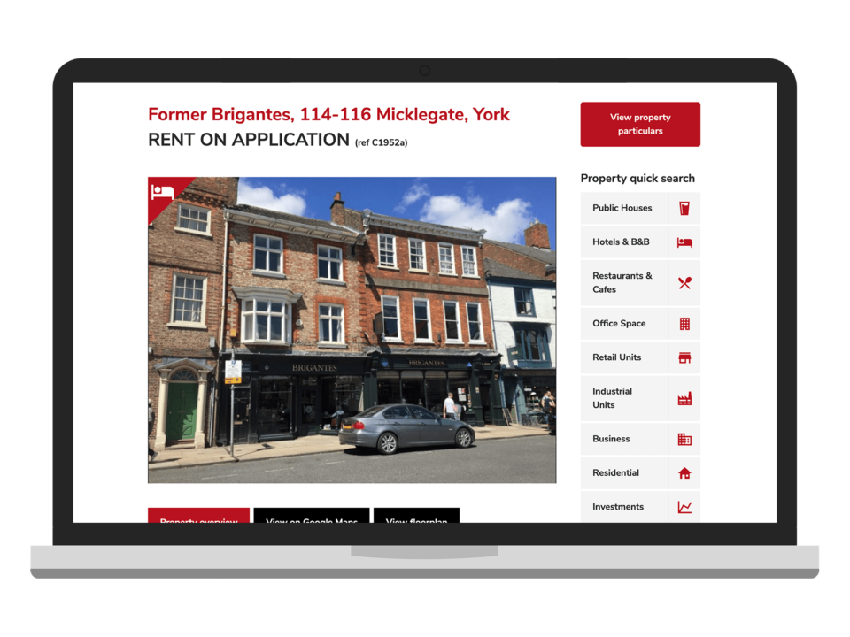 An example of high end design for the property and construction sector visualised on a desktop device