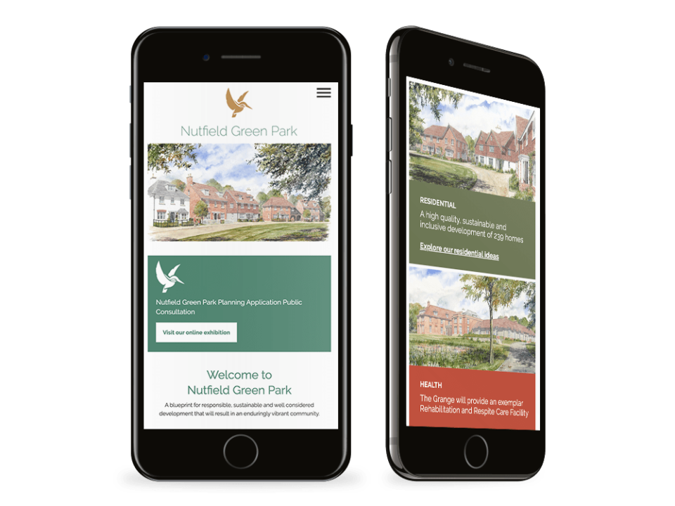 An example of high end design for the property and construction sector visualised on a mobile device