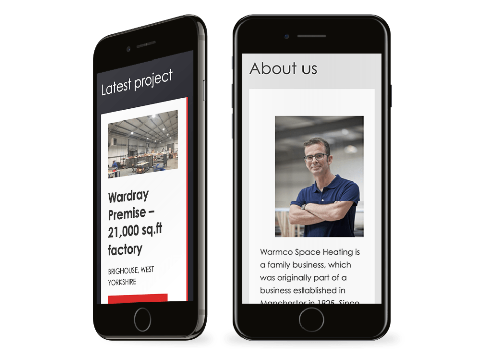 An example of a high-end website design for the industrial sector visualised on a mobile device