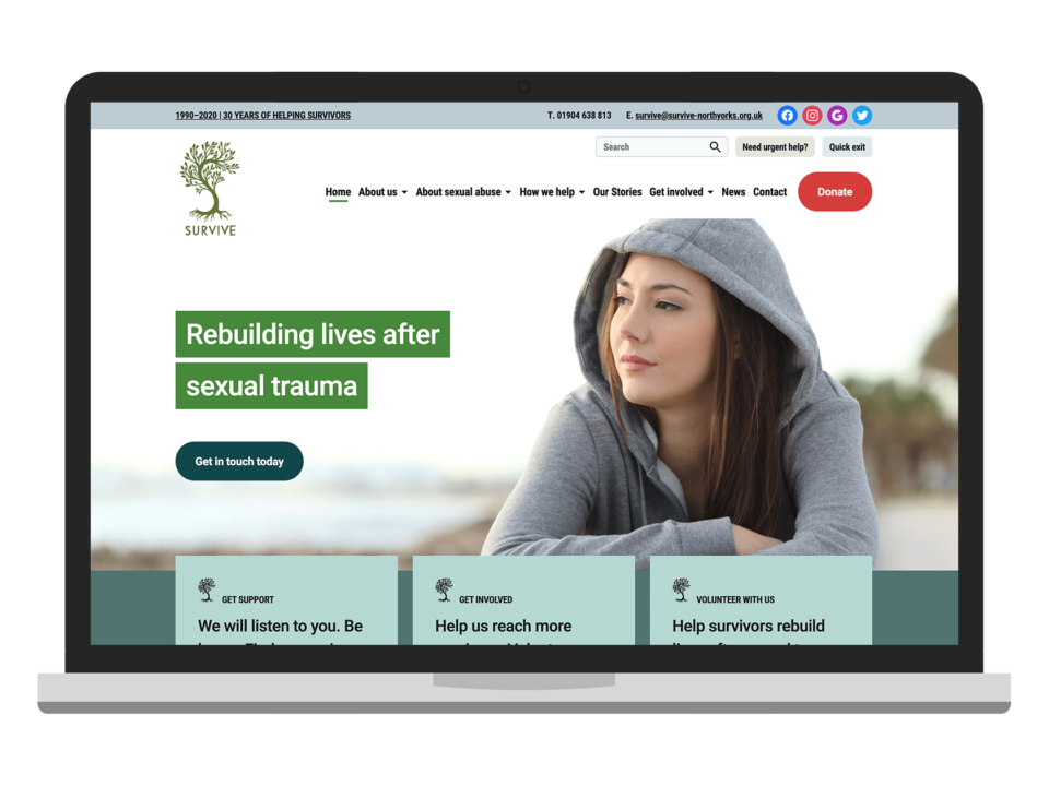 An example of high end web design for the charity sector visualised on a desktop device