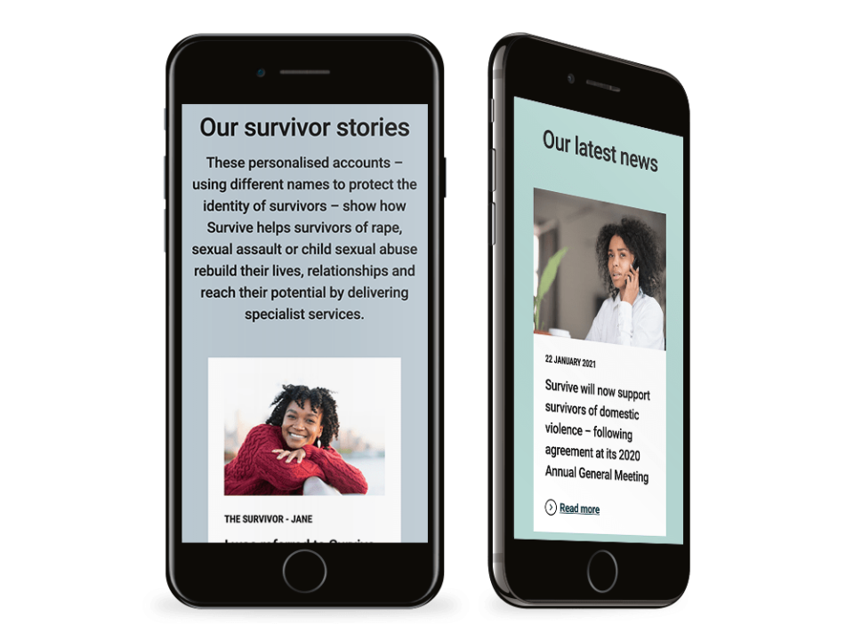 An example of high end web design for the charity sector visualised on a mobile device
