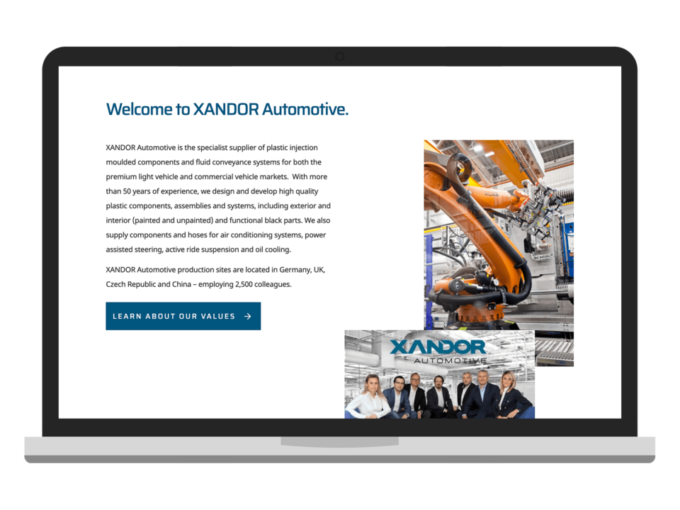 An example of high-end website design for a manufacturing company visualised on a laptop device
