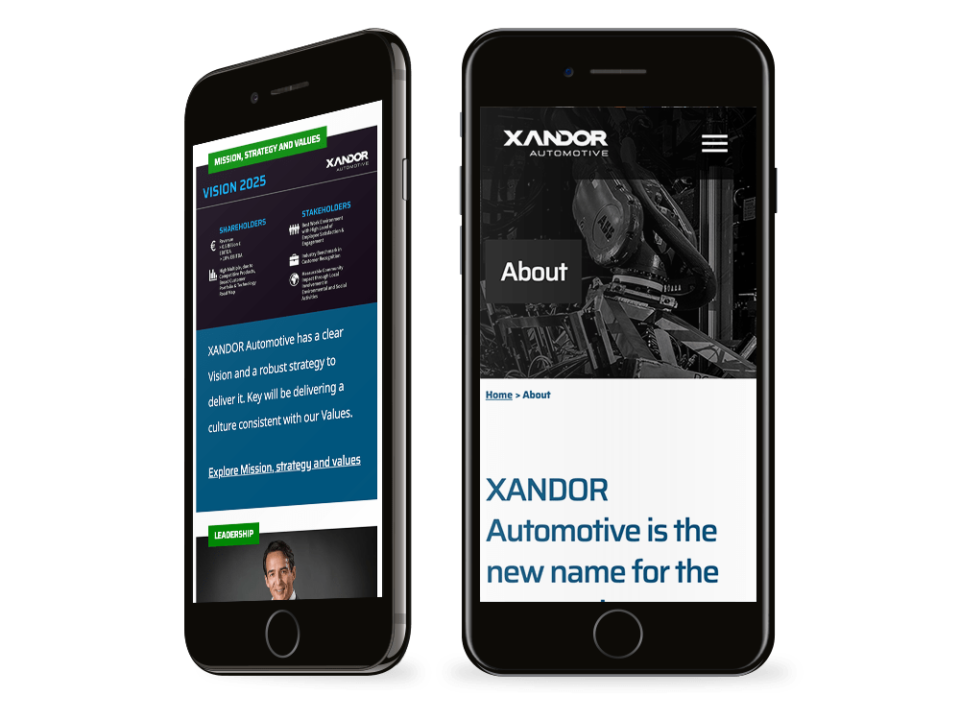 An example of high-end website design for a manufacturing company visualised on a mobile device